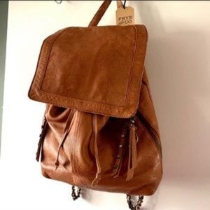 Frye Convertible Chain Strap Backpack in Cognac
